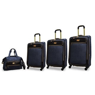 Adrienne Vittadini 4-Piece Nylon Expandable Spinner Luggage Set-Denim Blue