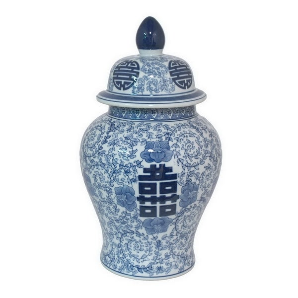 Three Hands Blue And White Ceramic Temple Jar