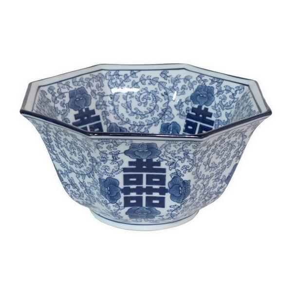 Three Hands Blue/White Ceramic Bowl