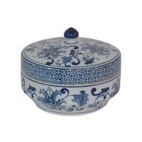 Three Hands Blue And White Ceramic Jar