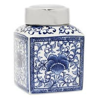 Three Hands Blue And White Ceramic Jar With Silver Lid