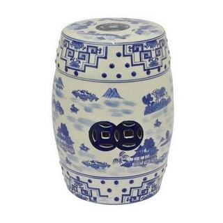 Three Hands Blue And White Ceramic Garden Stool