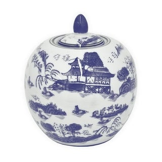 Three Hands Ceramic Blue And White Covered Jar