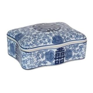 Three Hands Blue And White Ceramic Lidded Box