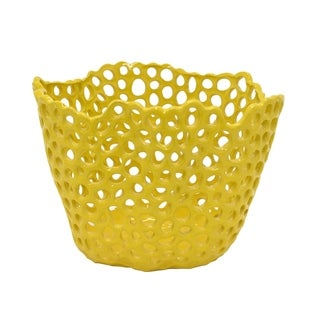 Three Hands Decorative Yellow Ceramic Pierced Bowl With Glossy Finish