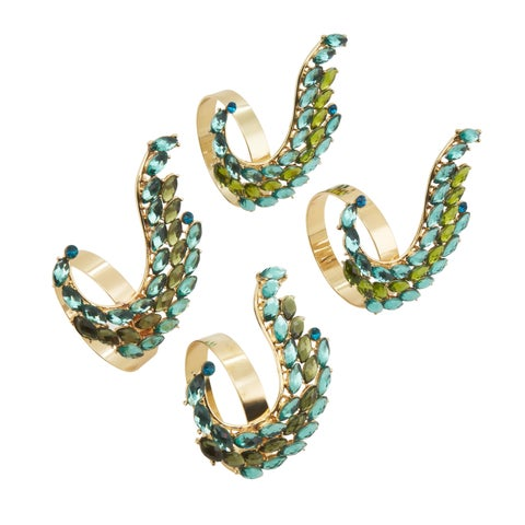 Jeweled Peacock Tail Napkin Ring - set of 4 pcs