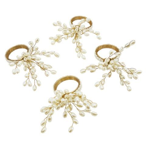 Faux Pearl Napkin Ring - set of 4 pcs