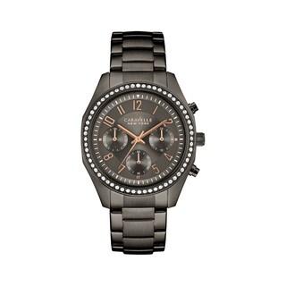 Caravelle NY Women's 45L161 Chrono Gunmetal IP Stainless Swarovski Crystal Bezel Bracelet Watch