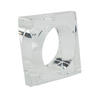 Clear Glass Crystal Square Napkin Ring - set of 4 pcs