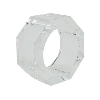 Glass Crystal Octagonal Facet Napkin Ring - set of 4 pcs