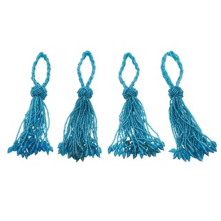 Beaded Drop Tassel Special Event Napkin Ring - set of 4 pcs (Option: turquoise)