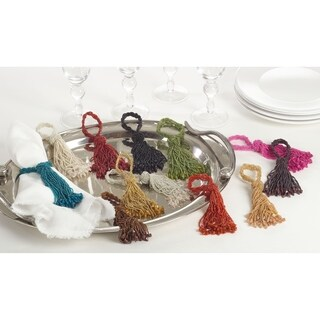 Beaded Drop Tassel Special Event Napkin Ring - set of 4 pcs