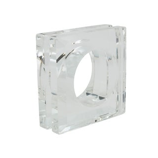 Glass Crystal Doubled Block Napkin Ring - set of 4 pcs
