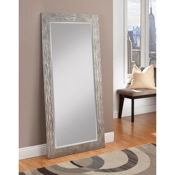 Sandberg furniture hammered antique silver finish full for Gray full length mirror