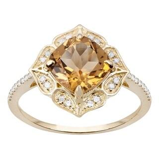 Viducci 10k Yellow Gold Vintage Style Cushion Citrine and Diamond Ring