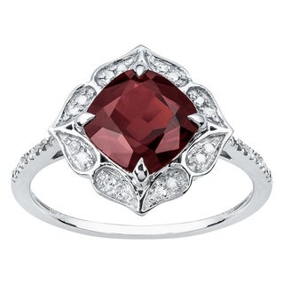 Viducci 10k White Gold Vintage Style Cushion Garnet and Diamond Ring