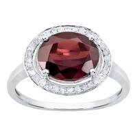 Viducci 10k White Gold Oval Garnet and Diamond Halo Ring