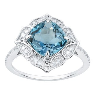 Viducci 10k White Gold Vintage Style Blue Topaz and Diamond Ring