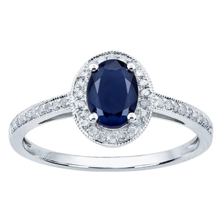 Viducci 10k White Gold Genuine Oval Sapphire and Diamond Halo Ring