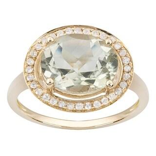 Viducci 10k Yellow Gold Oval Green Amethyst and Diamond Halo Ring