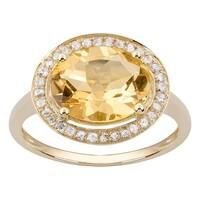 Viducci 10k Yellow Gold Oval Citrine and Diamond Halo Ring