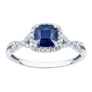 Viducci 10k White Gold Genuine Cushion Sapphire Diamond Halo Ring