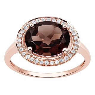 Viducci 10k Rose Gold Oval Smoky Quartz and Diamond Halo Ring (5 options available)