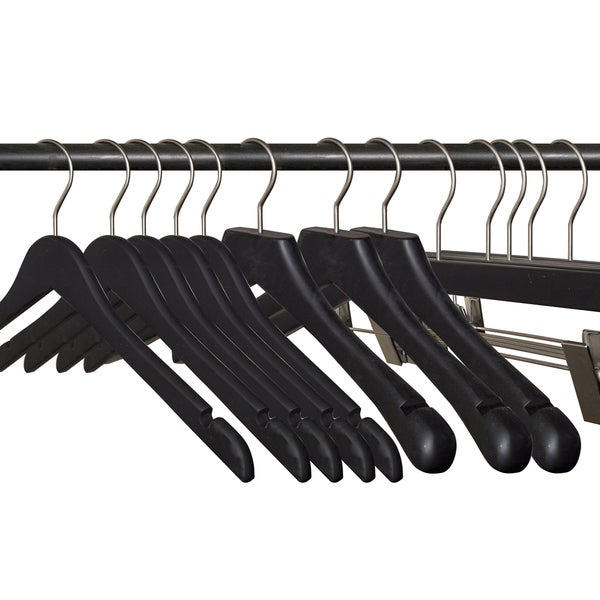 (79 pcs) Black Rubberized Wooden Hanger Set including Shirt, Skirt/Pant and Suit
