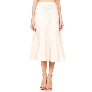 Women's Solid Mid-Length Skirt with Zip Up Back