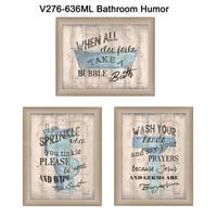 """""""Bathroom Humor"""" Collection By Debbie DeWitt, Printed Wall Art, Ready To Hang Framed Poster, Beige Frame"""
