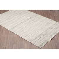 Solid Grey Wool Hand-loomed Textured Rug (8' x 10')