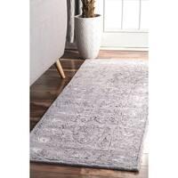 nuLOOM Vintage Handmade Hidden Floral Vine Wool Dark Grey Runner Rug (2'6 x 8')
