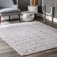 nuLoom Hidden Floral Vine Dark Grey Vintage Handmade Wool Area Rug - 5' x 8'