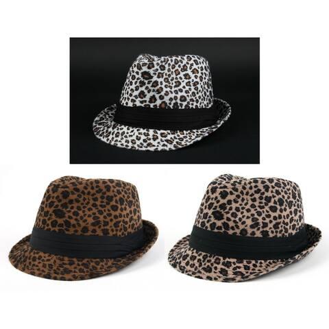 Pop Fashionwear Winter Leopard Print Fashion 2-piece Fedora Set w/Bonus Sunglasses