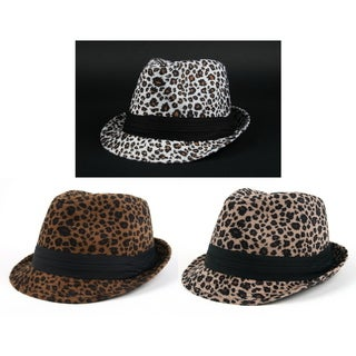Pop Fashionwear Winter Leopard Print Fashion 2-piece Fedora Set w/Bonus Sunglasses