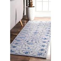 nuLOOM Vintage Handmade Hidden Floral Vine Wool Blue Runner Rug (2'6 x 8')