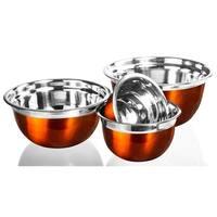 Stainless Steel Mixing Bowls - Orange Mixing Bowl Set Flat Prep Bowls