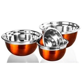 Stainless Steel Mixing Bowls - Orange Mixing Bowl Set Flat Prep Bowls