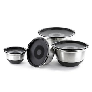Stainless Steel German Mixing Bowls Set - Lids Non Skid Silicone Base