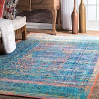 Nuloom Faded Chromatic Nightfall Multicolored Nylon Vintage-inspired Medallion Rug (8' x 10') - Multi - 8' x 10'