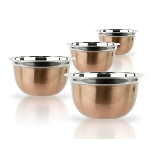 4 Pc Stainless Steel Mixing Prep Bowls Copper Brushed Serving Bowls