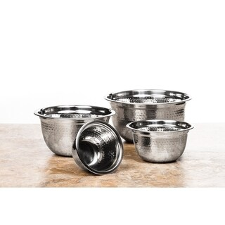4 Pc High Quality Stainless Steel Mixing Bowls (Hammer Design)