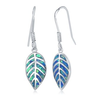 La Preciosa Sterling Silver Created Blue or White Opal Stone Leaf Earrings