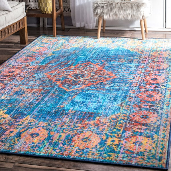 nuLOOM Blue Chromatic Medallion Nylon Vintage-inspired Floral Border Area Rug