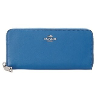 Coach Smooth Sliver/Lapis Leather Slim Accordion Zip Wallet