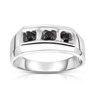 Noray Designs 14K White Gold Black Diamond (0.14 Ct, I1-I2 Clarity, Black Color) Men's 3-Stone Ring