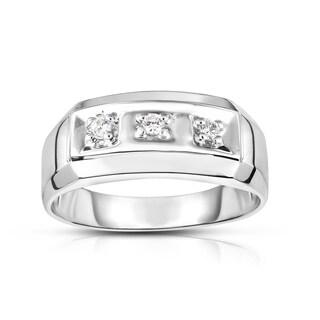 Noray Designs 14K White Gold Diamond (0.12 Ct, I1-I2 Clarity, G-H Color) Men's 3-Stone Ring