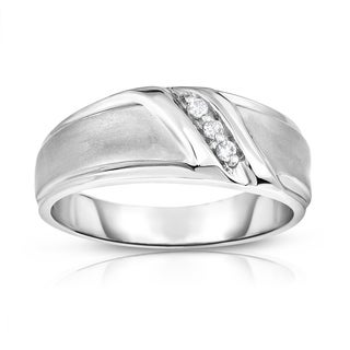 Noray Designs 14K Gold Diamond (0.06 Ct, I1-I2 Clarity, G-H Color) Men's 3-Stone Ring