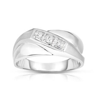 Noray Designs 14K Gold Diamond (0.15 Ct, I1-I2 Clarity, G-H Color) Men's 3-Stone Ring