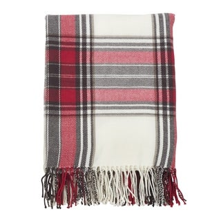 Simple Plaid Fringe Edged Throw Blanket